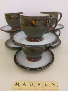 DENBY ~MARRAKESH~ tea cups & saucers x 6