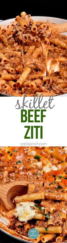 Skillet Beef Ziti Recipe - This Skillet Beef Ziti Recipe makes a quick and easy weeknight supper that the whole family loves! The pasta cooks right in the skillet and goes straight from the cooktop to the table in 30 minutes! // addapinch.com