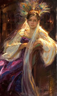 Young Girl Reclining In Wine Coloured Gown With Peacock Feathers in Her Hair~ Daniel Gerhartz