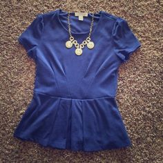 Navy Peplum Top Great for pairing with printed bottoms. Forever 21 Tops