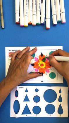 In this colorful math art project we will use symmetry and axes to create lovely paper tiles! Template available in the post. Easy Art Projects, School Art Projects, Craft Projects For Kids, Paper Crafts For Kids, Diy Crafts Videos, Diy Crafts To Sell, 5th Grade Art, Easy Halloween Crafts, Math Art