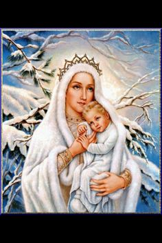 Image result for virgin mary blessed mother snow cold