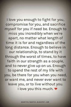 I love you enough......