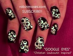 Nail-art by Robin Moses: Eyeballs Louboutin STYLE