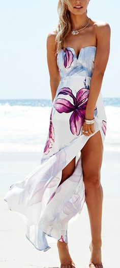 Floral Print Split Hem Maxi Dress