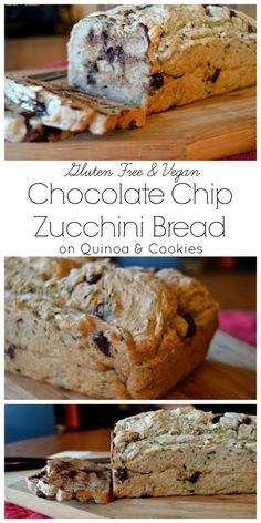 With chocolate and cinnamon, this vegan zucchini bread is simple and delicious without being overly sweet!  Gluten free and vegan, on Quinoa and Cookies