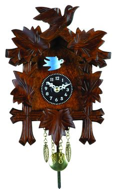 Quartz Novelty Clock - Five Leaves & One Bird with Moving Blue Bird - 7 Inches Tall