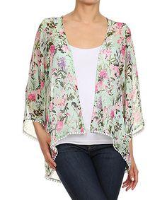 88c7b63247f0 Ahto Mint Floral Open Cardigan