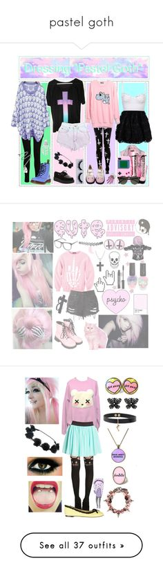 """pastel goth"" by dragon-ruler ❤ liked on Polyvore featuring RED Valentino, Carven, J Brand, T.U.K., Levi's, Dr. Martens, Kreepsville 666, Pamela Love, Hot Topic and INDIE HAIR"