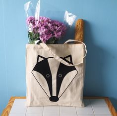 Jutebeutel mit Dachs, Shopperbag / hipster tote bag, badger made by DaWanda.com