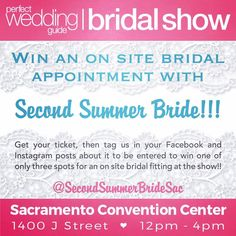 #Lovelies you have a chance to win one of the limited bridal fitting appointments we will have on Sunday 1/29 for this #BridalShow. Like us on Facebook and follow us on Instagram then post about your ticket and tag us to enter!!       #SecondSummerBrideSac #SecondSummerBride #Love #Boho #Wedding #Inspiration #Magic #SacramentoBride #BohoBride #Bride #BrideSquad #WeddingDo #SayYes #ShopLocal #WinterWedding #BridalFashion #Sacramento #BohoMagic #WeddingGown #BridalShow #InstaInspiration