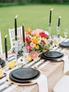 Bright florals, stripes and a dash of glitter: http://www.stylemepretty.com/little-black-book-blog/2015/10/20/modern-chic-wedding-inspiration/ | Photography: Jeremiah and Rachel - http://jeremiahandrachel.com/