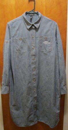 Ralph Lauren DENIM CHAMBRAY Jean NAUTICAL DRESS Size Large Shirt Dress Blue #LaurenRalphLauren #ShirtDress #Casual #freeshipping #ebay #chambray #nautical