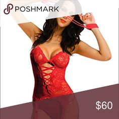Lingerie Red lace dress comes with thong, handcuffs & also stockings. Intimates & Sleepwear