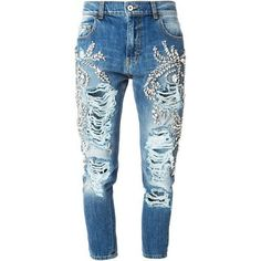 Marco Bologna crystal embellished distressed jeans ❤ liked on Polyvore featuring jeans, torn jeans, distressing jeans, destruction jeans, destructed jeans and distressed jeans