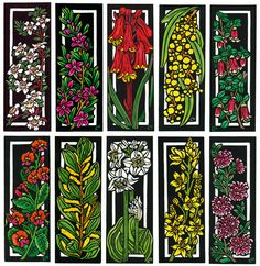 DECO SET Hand painted linocuts by Lynette Weir - oil based printing inks and watercolour Australian Wildflowers, Australian Flowers, Linocut Artists, Wildflower Drawing, Drawing Skills, Australian Artists, Botanical Art, Flower Art, Drawings