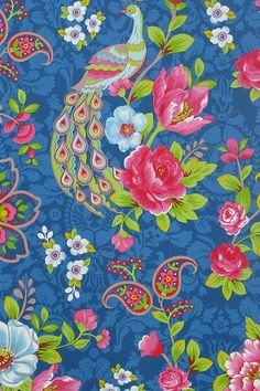 'Flowers in the Mix,' Dark Blue Wallpaper, Through Pip Studio.