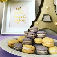 Purple and Yellow French Macarons
