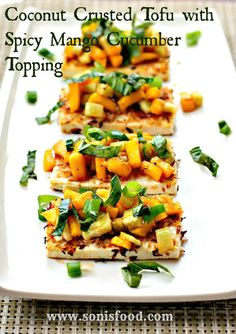 Coconut Crusted Tofu with Spicy Mango Cucumber topping is an easy appetizer that comes together in minutes! #vegan #sundaysupper #tofu #mango #cucumber #recipes #food