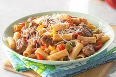 Sausage with Peppers and Pasta Recipe - Kraft Recipes