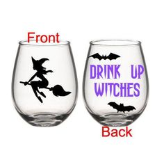 Halloween Wine Glass Drink Up Witches Wine Glass Witch Wine