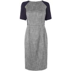 L.K. Bennett Darcie Seam Detail Dress, Navy (10.330 RUB) ❤ liked on Polyvore featuring dresses, short-sleeve dresses, tweed shift dress, boatneck dress, navy blue formal dress and shift dress