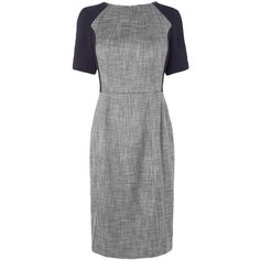 L.K. Bennett Darcie Seam Detail Dress, Navy (10.330 RUB) ❤ liked on Polyvore featuring dresses, short-sleeve dresses, tweed shift dress, boatneck dress, navy blue formal dress and shift dress
