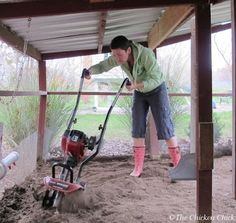 Turning the sand in the coop keeps it fresh and fluffy after drying out in the event it gets wet.