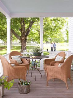 A small outdoor dining area is the perfect place to enjoy a summertime meal. More outdoor porch ideas: http://www.bhg.com/home-improvement/porch/porch/outdoor-porch-design-and-decorating/?socsrc=bhgpin070313diningares=11