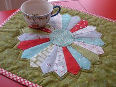 Cherry Christmas Holiday Dresden Plate Quilted Table Runner Topper. $48.00, via Etsy.