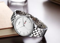 BUREI® Men's SM-13001-P51AY Day and Date Stainless Steel Watch with White Dial Price:$42.99