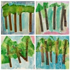First grade landscapes with tissue paper, white crayons,  and watercolors... Just as good, if not better than what forth grade did! Awesome :)