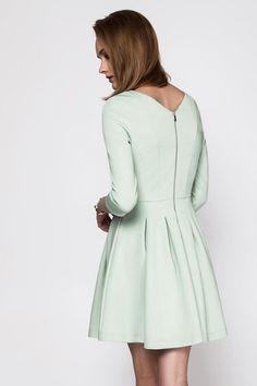 Mint Long Sleeve V Neck Flare Dress