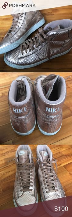more photos 2edac 5a7cd nike · women · classic nike wmns blazer mid cut out prm metallic red bronze  snake collection  nike blazer lace up high top sneaker