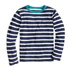 Boys' long-sleeve ringer tee in slim stripe