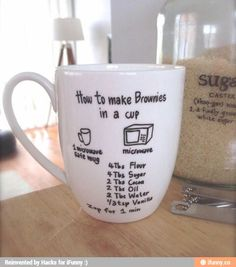 Brownie in mug. Super cute gift idea! You could customize for any dessert in a mug recipe to fit the person's taste.