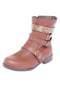 Bota DAFITI SHOES Coturno Metais Marrom - Marca DAFITI SHOES