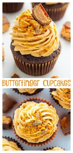 An easy and amazing recipe for Butterfinger Chocolate Cupcakes! Imagine moist chocolate butterfinger cupcakes topped with creamy peanut butter butterfinger frosting and you'll know what … Gourmet Cupcake Recipes, Cupcake Flavors, Bakery Recipes, Unique Cupcake Recipes, Bakery Ideas, Healthy Cupcakes, Baking Cupcakes, Cupcake Cakes, Cupcake Ideas