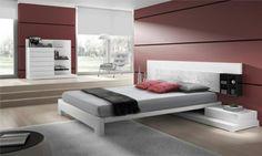 Rosa Wandfarbe Weißes Bett Kopfteil Nachttisch
