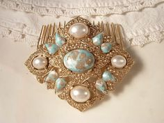 """TRUE Vintage Turquoise & Ivory Pearl Bridal Hair Comb, Gold Plated Heirloom Brooch Haircomb Large by """"AmoreTreasure"""" on Etsy. $74.99, via Etsy."""