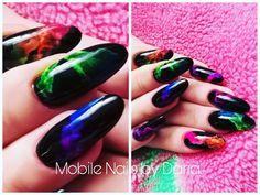 Rainbow smoke nails, smoke nails