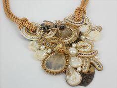 Items similar to Au comptoir bohème on Etsy Jewelry Art, Beaded Jewelry, Handmade Jewelry, Jewelry Design, Unique Jewelry, Soutache Necklace, Pendant Necklace, Friend Jewelry, Wow Products