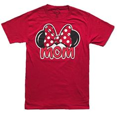 f139e2f56 Disney Women's Minnie Mouse Mom Fan T Shirt (Medium Red): Women will love  this Disney MOM FAN tee! Has Minnie's ears and large bow on front with