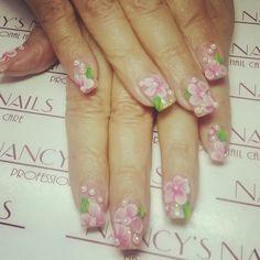 refill de uas acrilicas crystal clear decoracion d de flores full set pink royal