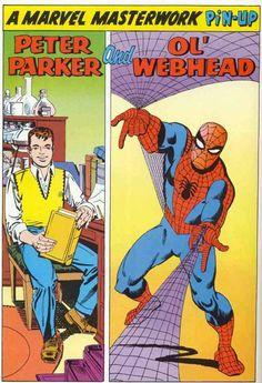 Peter Parker and Ol' Webhead by Steve Ditko Spider-Man comic books comics Marvel Universe, Marvel E Dc, Marvel Comics Art, Marvel Comic Books, Comic Book Heroes, Marvel Heroes, Comic Books Art, Comic Art, Comic Book Artists