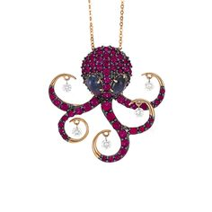 octopus pendant in rose gold with sapphires diamonds and topaz Animal Jewelry, Sapphire Diamond, Topaz, Bling, Rose Gold, Pendant Necklace, Jewels, Beads, Accessories