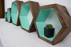 Hexagon Shelf Geometric Shelf Wood by RoamingRootsWoodwork