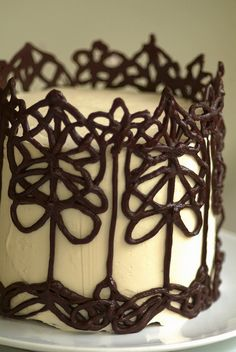 Cake with fancy chocolate decorations.