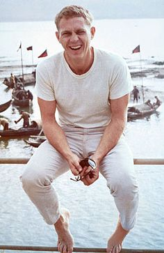 Steve McQueen style -- keep your summer looks in the light side by pairing neutrals. Men's summer style.