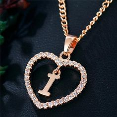 Best Seller Romantic Love Pendant Necklace For Girls 2019 Women Rhinestone Initial Letter Necklace Alphabet Gold Collars Trendy New Charms Letter Pendant Necklace, Letter Pendants, Love Necklace, Necklace Types, Initial Necklace, Fashion Necklace, Fashion Jewelry, Calin Couple, Stylish Alphabets
